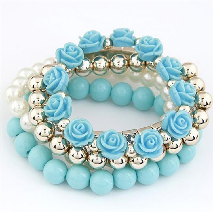 Stylish Summer Flowers Multi Bracelet Rose Created Pearls Gemstone ...