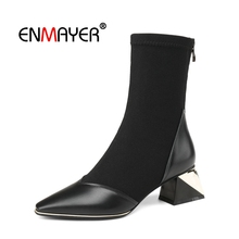 ENMAYER Woman Ankle boots Winter Round toe Short boots Black Size 35-40 Causal Cow Suede Low heels Slip on Butterfly-Knot CR1991 butterfly knot newest fashion women shoes cheap price hot selling luxury ankle concise round toe black deep red slip on