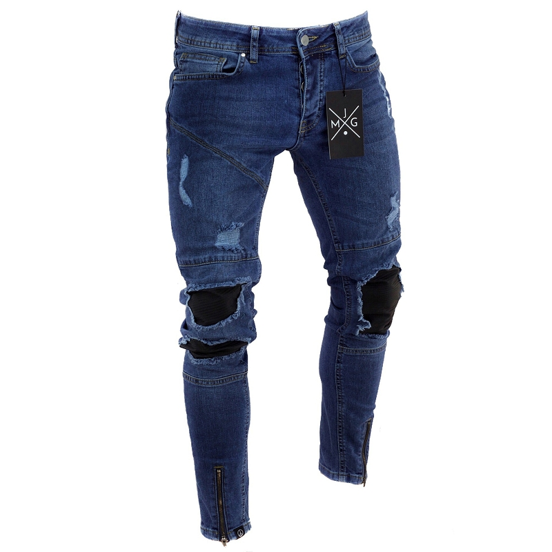 2019 Ripped   Jeans   Summer New Men Distressed Hip Hop Denim Pants Trousers Men Stretch   Jeans   Pants   Jeans