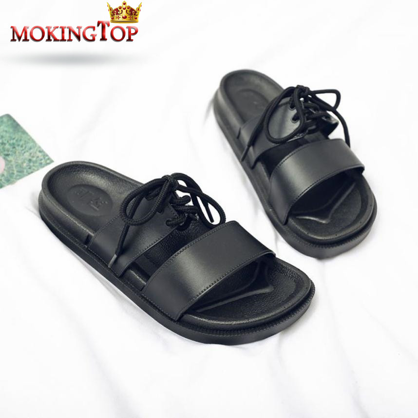 MOKINGTOP unisex Summer Bandages slippers women man black Indoor Outdoor flat slipper summer 2018 womans slipper Beach shoes#WS