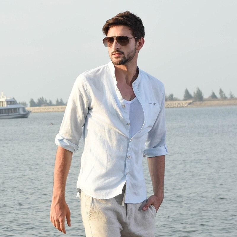 004a79f56fd Лето три четверти рукав Для мужчин льняная рубашка воротник-стойка  повседневные льняные хлопковые рубашки мужской