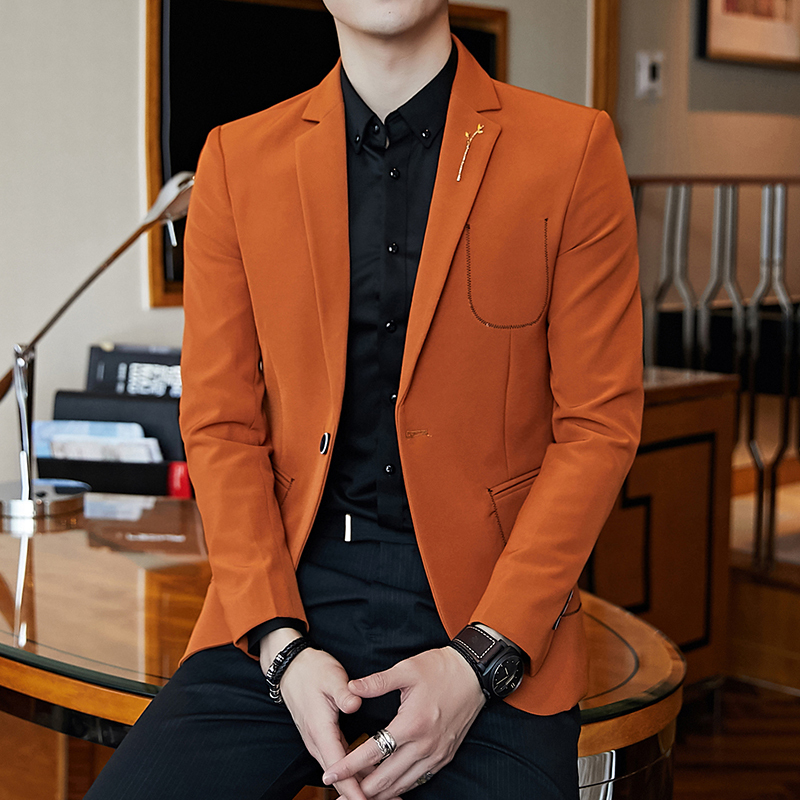 3 Solid Blazer Hombre Slim Fit  Business Casual Vintage Mens Blazer Homme Orange Black Cream One Button Suit Jacket M-3xl 1