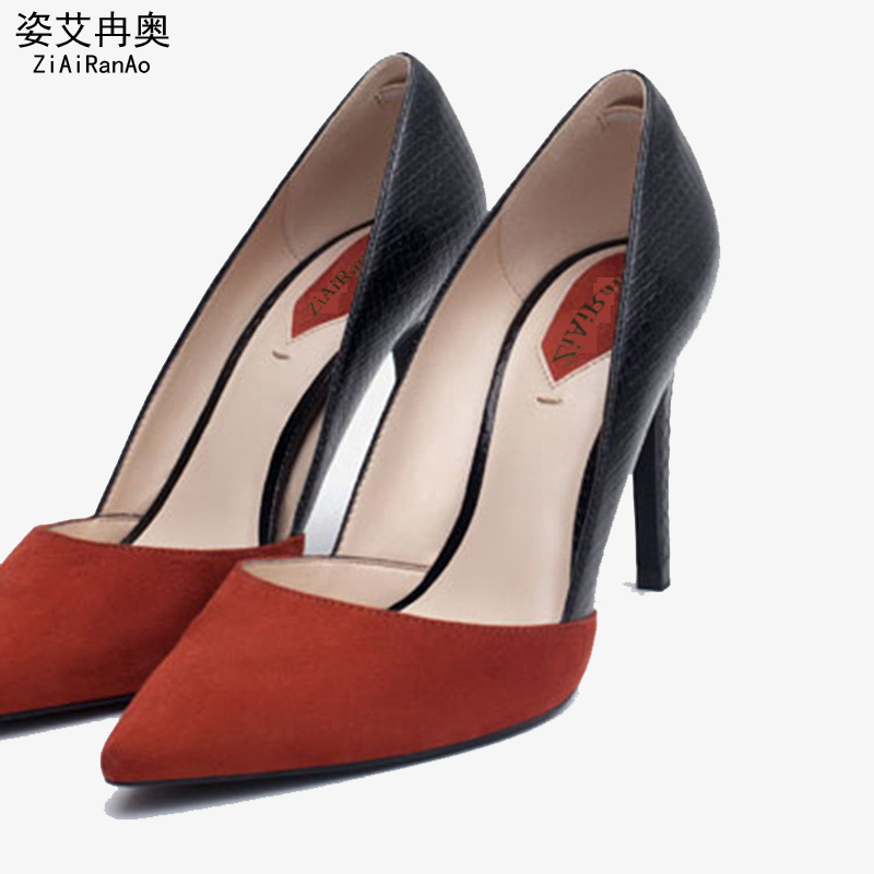 New Fashion Splice PU Women Pumps Sexy 7 CM 9 CM High Heels Casual Pointed Toe Shoes Woman Spell Color Flock Women's Shoes women pumps flock high heels shoes woman fashion 2017 summer leather casual shoes ladies pointed toe buckle strap high quality