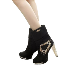 Women's shoes 2018 winter new female boots Female solid metal tassel high heels with big boot Fashion Martin boots