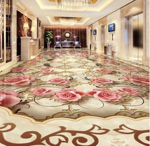 Promo European Jade Stone Pattern HD 3d Flooring Rose Wallpaper Self Adhesive Wallpaper Waterproof PVC Wallpaper 3d Floor Painting