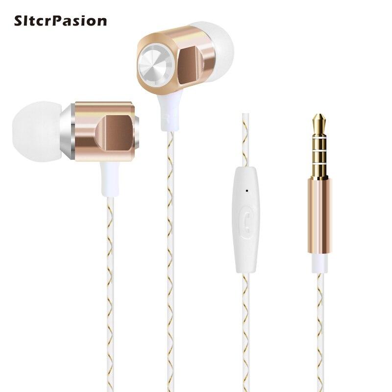 SltcrPasion Pas Cher Métal Musique Écouteur pour Téléphone Oordopjes Casque Audio Cuffie 3.5mm Sport Écouteurs Écouteurs pour iPhone 6 Samsung