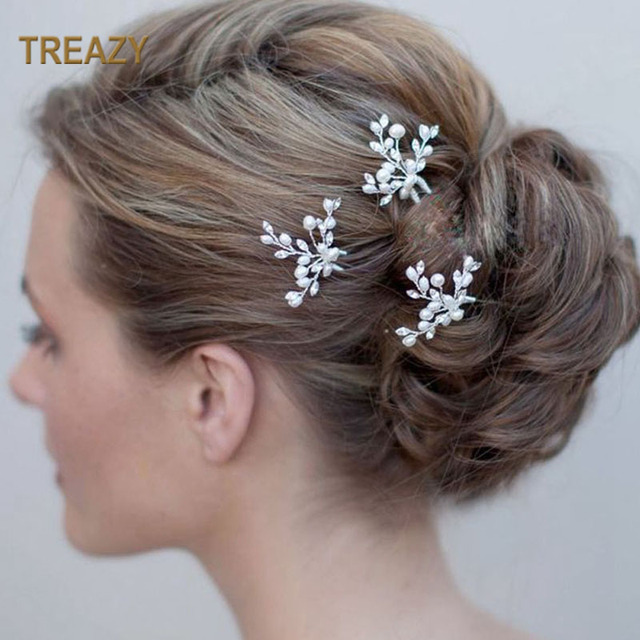 2Pcs Bridal Wedding Crystal Simulated Pearl Flower Hair Pins Handmade Headpiece Brides Bridal Hair Jewelry Hair Accessories