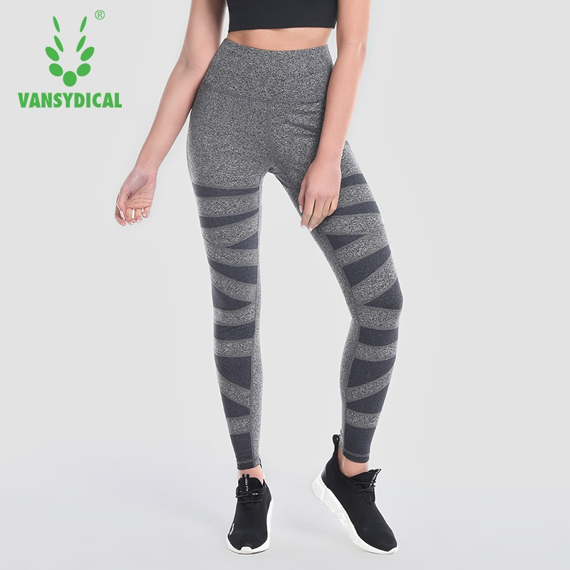 High Waist Yoga Pants Vansydical Running Leggings Women Compression Jogging Tights