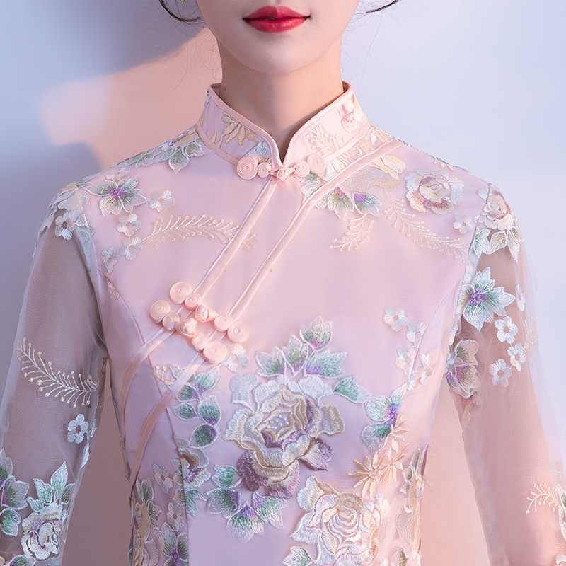 Rosa Qipao Longo Cheongsam vestido de Casamento Moderno Vestido Tradicional Chinês Cheongsam Sexy Vestido Robe Chinoise Vestido Oriental Prom