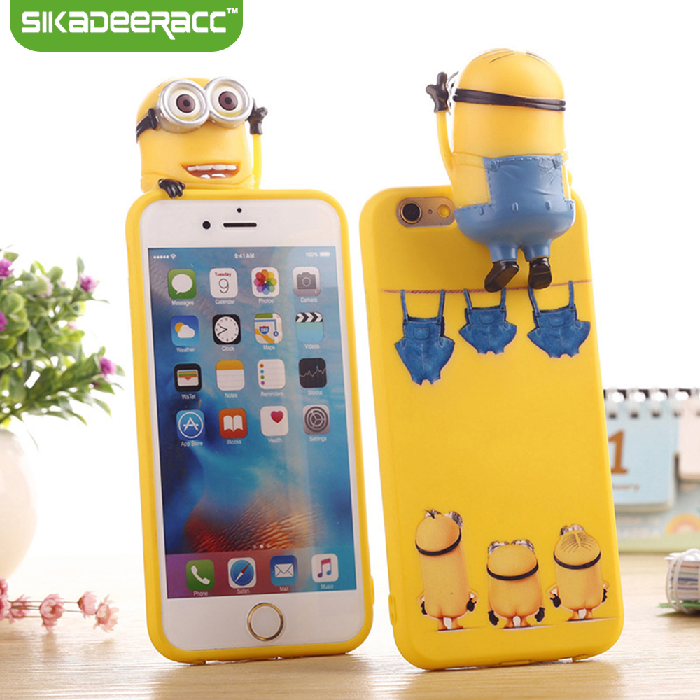 SA93 Lovely 3D Minions Doll Phone Case Silicone For iPhone 5 5s 6 6s 7 Plus SE Mobile Phone Protector Back Cover Shell Housing