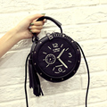 2017 Limited Promotion Casual Pu Open Pocket Single Cell Phone Hard Personality Women Tassel Bag, Handbag Messenger Bag Clock
