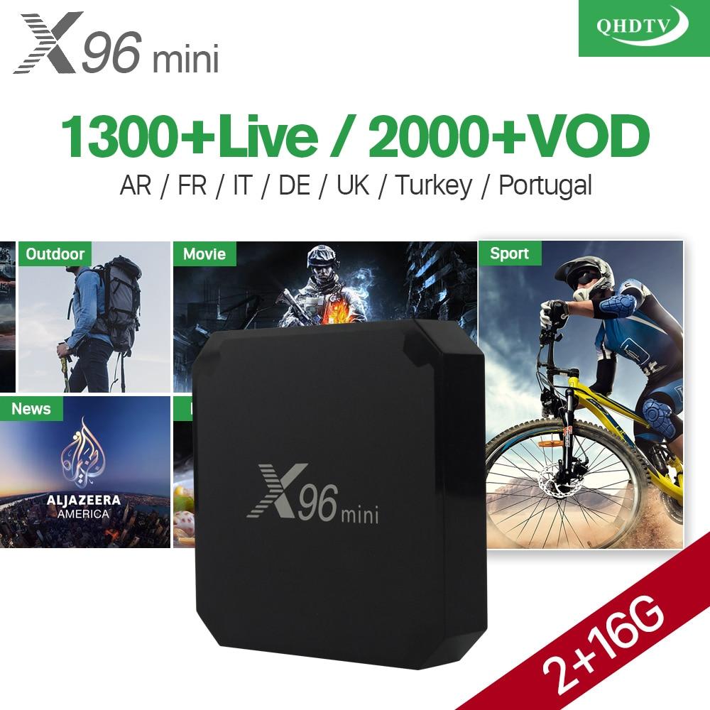 X96 Mini Android 7.1 TV BOX 2GB 16GB S905W Quad Core WiFi with Qhdtv IPTV Subscription Arabic French UK Spain Turkey Italy hot x96 tv box 2gb 16gb s905x quad core 2 4ghz wifi hdmi smart set top box with iudtv iptv abonnement french arabic iptv top box