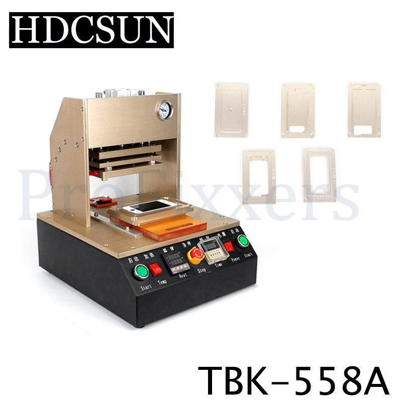 Built-in Air Compressor Bracket Pressure Frame Laminating Machine Automatic LCD Bezel Laminator with 5 Moulds For all iPhone 12 inch komiin oca laminating machine vacuum laminator bubble remover for glass screen lcd refurbish