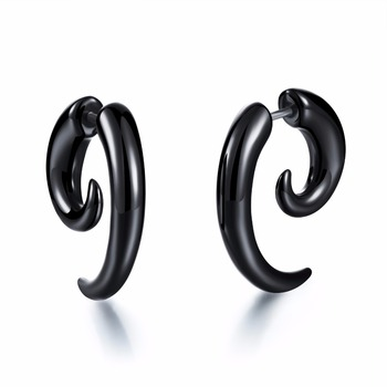 Horn Design Man Stud Earring Piercing Body Jewelry 316L Stainless Steel Jewelry Birthday Gift Cheap Price Wholesale Allergy body jewelry