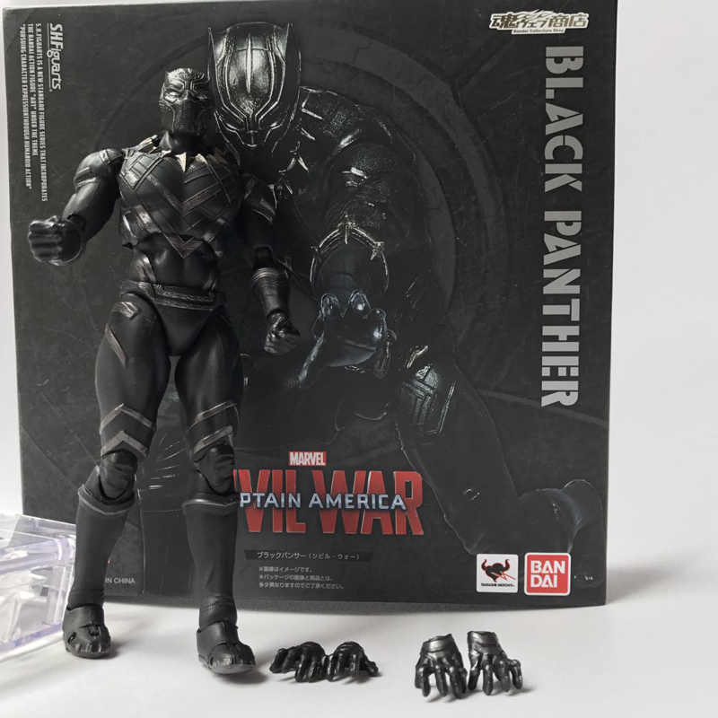 SHFiguarts Captain America 3 Civil War Black Panther PVC Action Figure Collectible Model Toy Doll Gift captain america civil war iron man 618 q version 10cm nendoroid pvc action figures model collectible toys