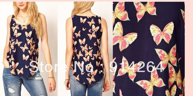 Women Lady Elegant Casual Printing Scoop Neck Chiffon Sleeveless Tank Vest Top   free shipping