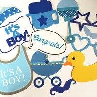 Baby shower niño azul decoración DIY kits 30 UNIDS Photo Booth apoyos Para El Partido Es un muchacho del bigote de leche botella decoración suministros