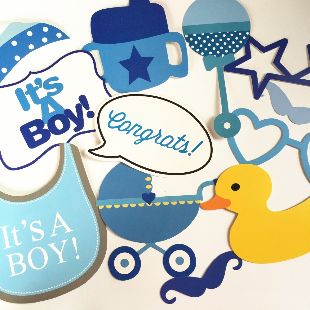 Boy Baby Shower Blue Decoration DIY Kits 30 PCS Photo Booth Props For Party  Itu0027s A