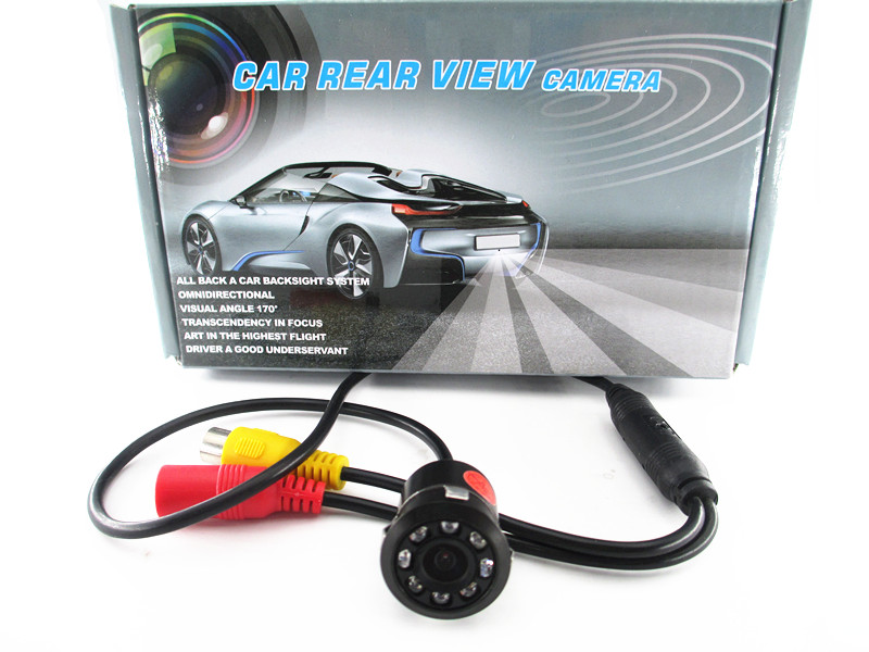 18.5mm Drill Hole Car Parking Backup Reverse Rear View Camera 8 LED Night Vision 170 Degree Mini Waterproof Color CCD Image ccd car reverse camera for ssangyong rexton kyron backup rear review reversing parking kit waterproof nightvision free shipping