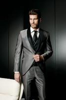 Latest Coat Pant Designs Smoking Grey Satin Wedding Suits for Men Jacket Slim Fit Custom 3 Piece Blazer Prom Tuxedo Masculino