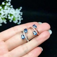 100% 925 sterling silver real Natural sapphire Rings fine Jewelry gift open wedding wholesale gift new 4*6mm bj0406018agl