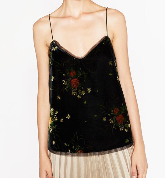 Mulher Preta 2016 nova Moda Vintage floral IMPRESSO VELVET CAMISOLE TOP Com Decote Em V Com Alças Finas Sheer detalhe no decote hem