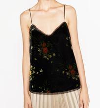 Woman Black 2016 Fashion new Vintage floral PRINTED VELVET CAMISOLE TOP V-neck With Thin Straps Sheer detail at neckline hem