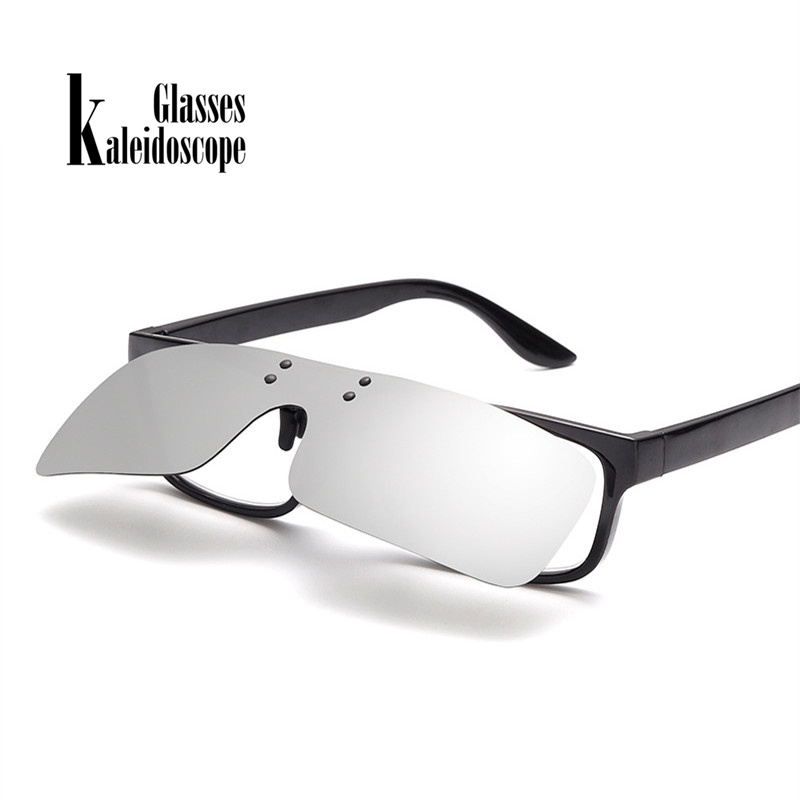 Kaleidoscope Glasses Men Polarized Clip on Sunglasses Classic Shield Glasses Clips Night Vision Driving Flip Up Glasses