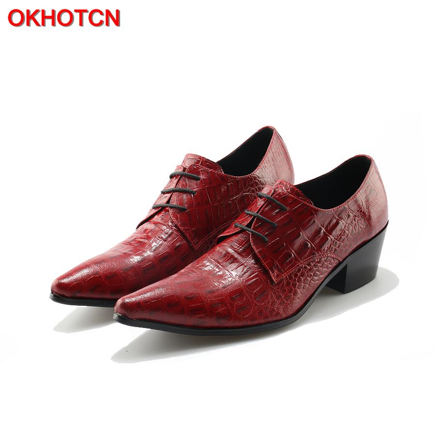 OKHOTCN Oxford Shoes For Men Crocodile Print Formal Lace Up Men Party Dress Shoes Chunky Heels Red Wedding Shoes Fashion Zapatos недорго, оригинальная цена