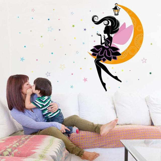 Moon Fairy Wall Stickers For Kids Rooms Daycare Decorations Nursery Decor Children Princess Mural Decal A35