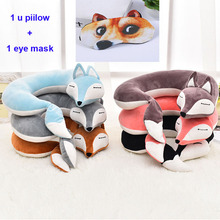 Lovely Fox Animal Cotton Plush U Shape Neck Pillow Travel Car Home Nap Cartoon for Flight Plane