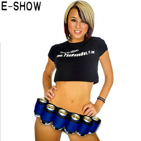 E-SHOW Adjustable Unisex Canvas Beer Belt Novelty Soda Can Holster Can Holds 6 Beverage for Camping Party