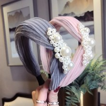 Korea High Quality Hand Made  Threading Pearl Hair Accessories For Girls Bows Flower Crown Headbands Women Hairbands