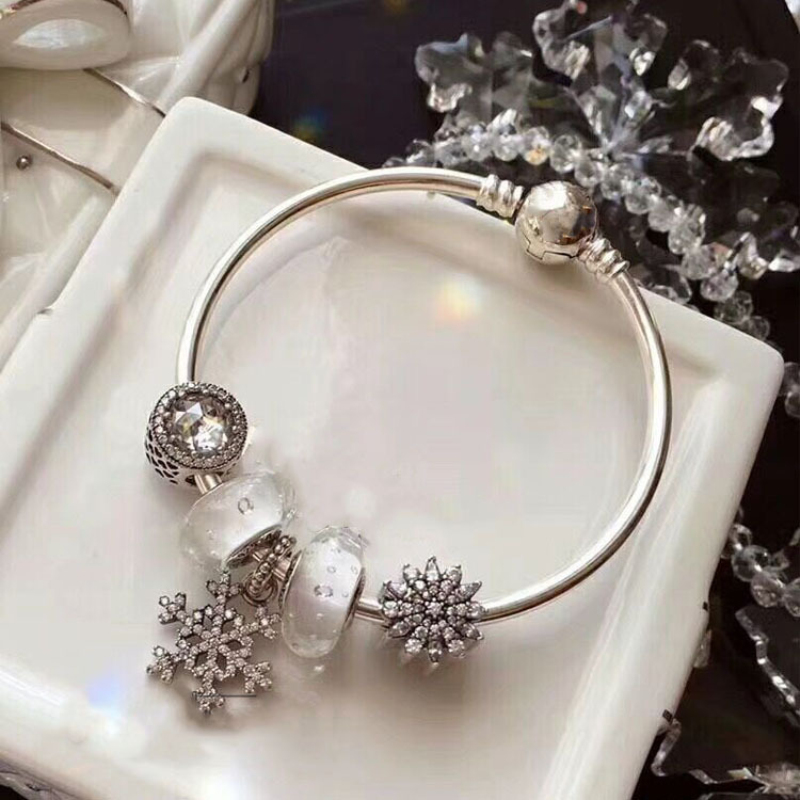 Fits  Jewelry Charm DIY Ladies Party Gift Sterling Silver 925 Beads Glass Beads Snowflake White Series Finished BraceletFits  Jewelry Charm DIY Ladies Party Gift Sterling Silver 925 Beads Glass Beads Snowflake White Series Finished Bracelet