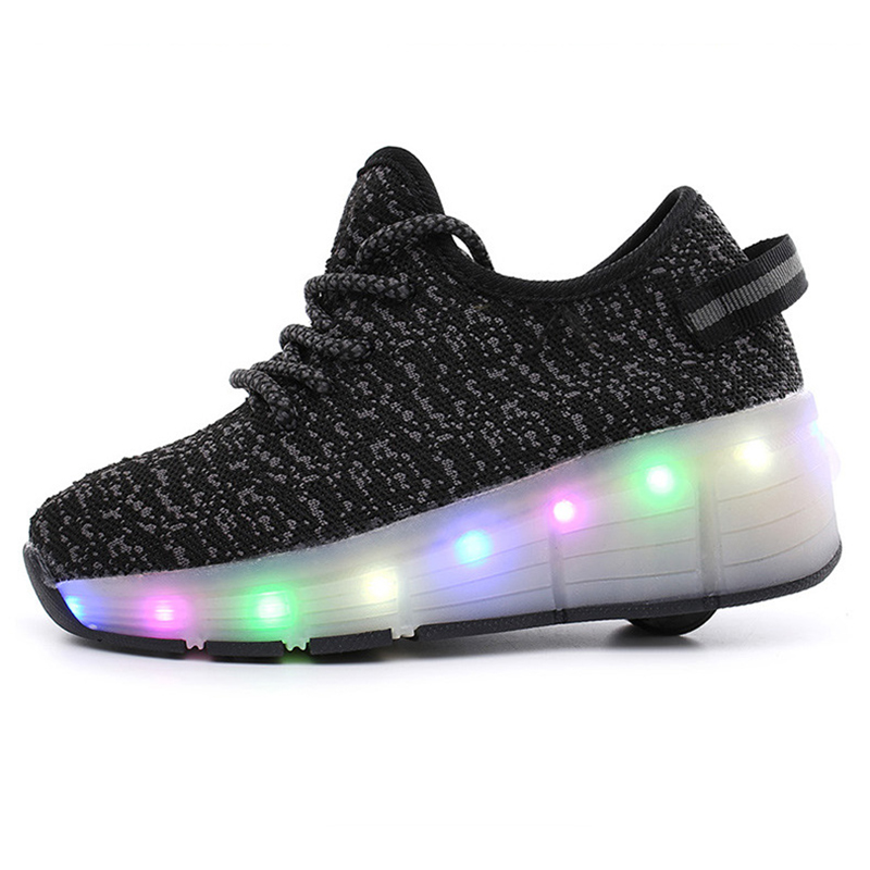 Children Roller Glowing Shoes Wheel sole for Children Sneakers with Luminous LED Flash Ultra-light Coconut Sports Shoes TS046 children roller sneaker with one wheel led lighted flashing roller skates kids boy girl shoes zapatillas con ruedas