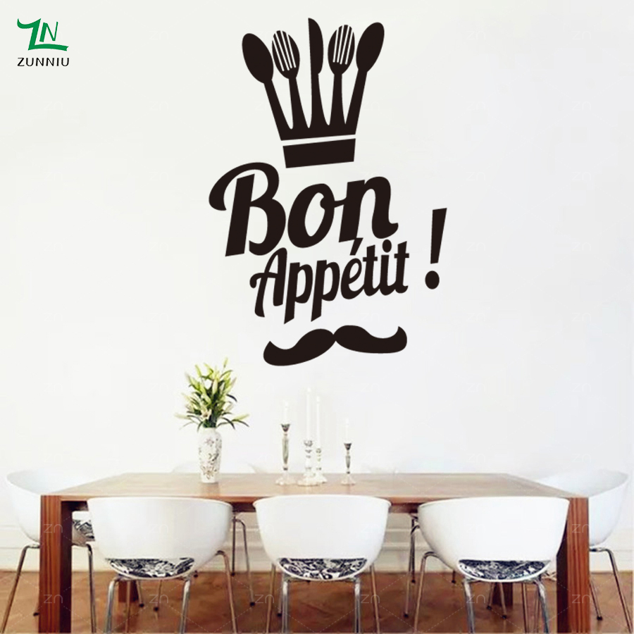 Bon Appetit Spanish Food Wall Stickers Cutlery Vinyl Wall Art Decals For Kitchen Decoration Home Dining Room Decor Mural