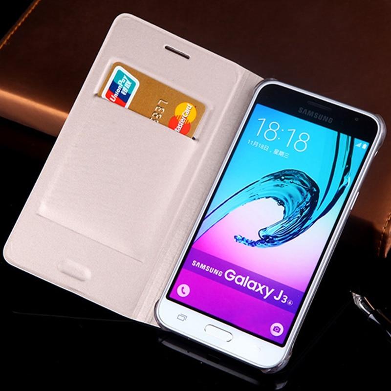 Slim Leather Wallet Case Flip Cover Med Korthållare Telefon Ärmväska Mask För Samsung Galaxy J3 2016 J320 J320F J320H J300