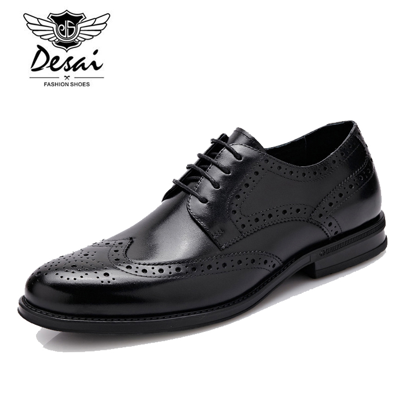 цена на Desai Classic Bullock Carved Flower Genuine Leather Men's Dress Shoes Casual Lace-up Brand Business Gentleman Shoes A526101