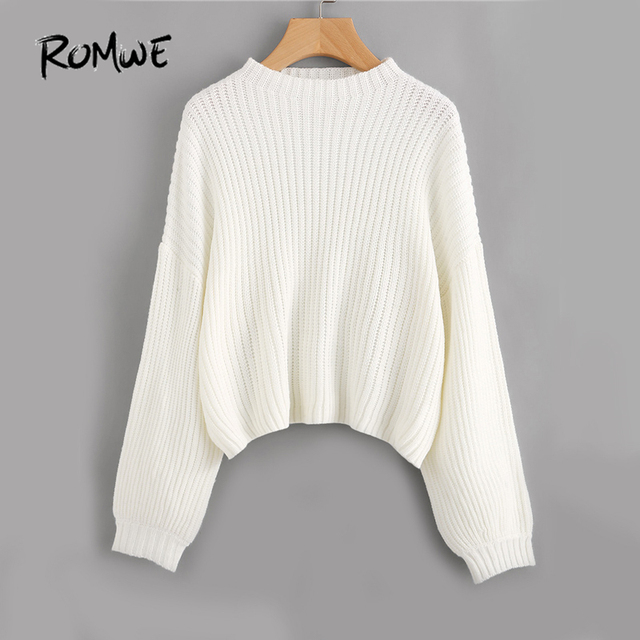 2b7355293 ROMWE White Drop Shoulder Sweater Pullovers Women Lantern Long ...