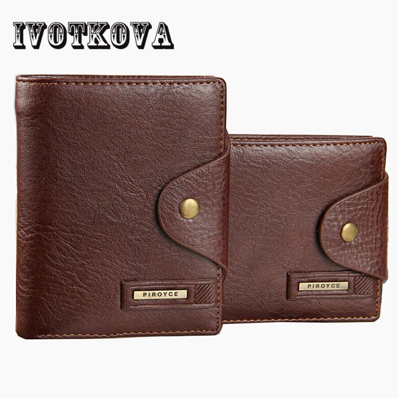 IVOTKOVA Top Quality Cow Leather Men Wallets Luxury Dollar Price Short Style Male Purse Carteira Masculina