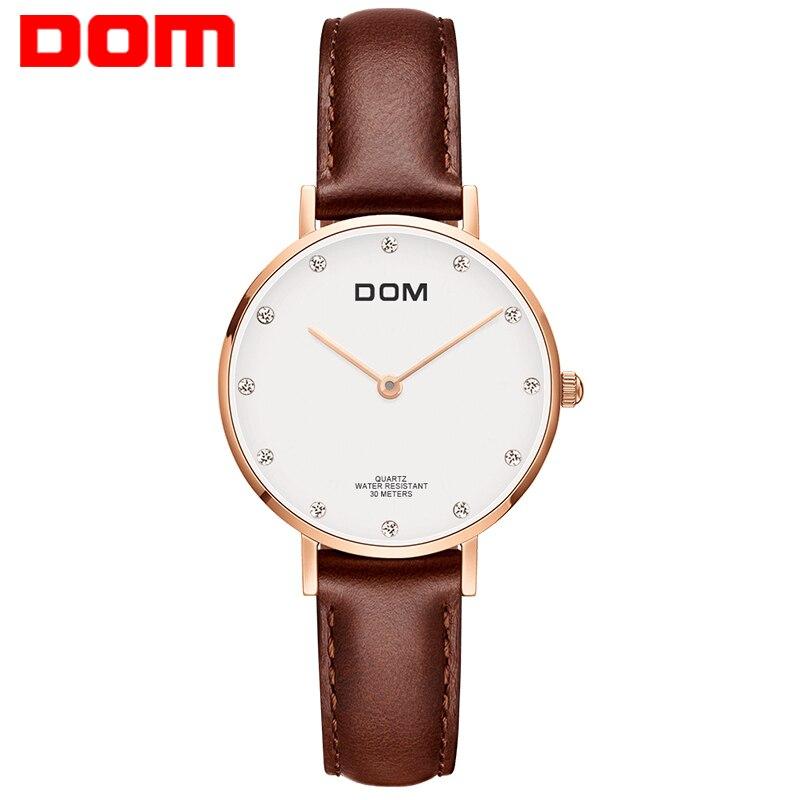Montre Femmes DOM Top Marque De Luxe montre À Quartz Casual quartz-montre en cuir Maille sangle ultra mince horloge Relog G-36GL-7M