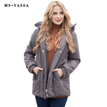 MS VASSA Ladies Parkas 2017 New Autumn Winter padded Women jacket detachable hood nice faux fur plus size 7XL casual outerwear