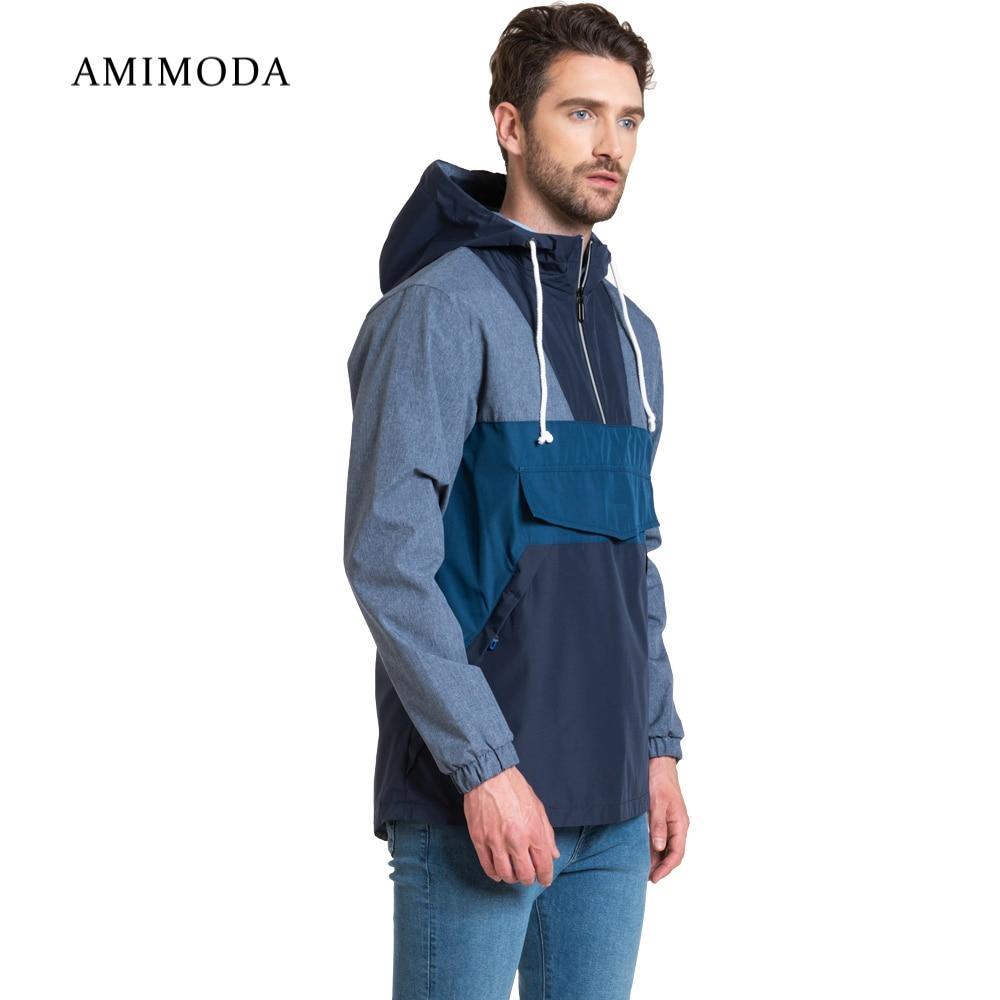 Jackets Amimoda 10017-020308 Men\'s Clothing windbreakers for men  cloak jacket coat parkas hooded self tie waist solid hooded coat