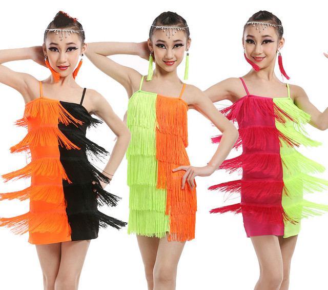 c6632122f71fb 3 Color Kids Tassels Vestidos Latino Dancewear Costumes Dress Outfits Girls Latin  Dancing Dress Ballroom Salsa Dance Wear Dress