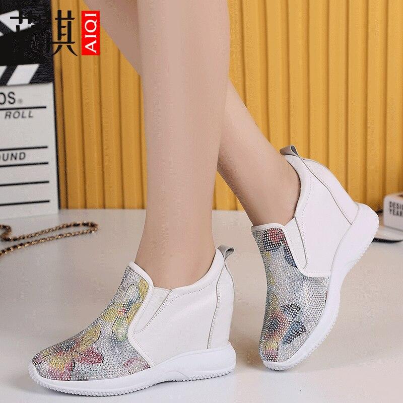 Белая кожаная женская обувь, увеличивающая рост, на 8 см, для отдыха, Baitao, на весну 2019