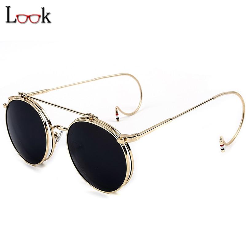 Hot Sale 2017 Vintage Round Sunglasses Metal Steampunk Goggles Retro Sun Glasses For Women Men Brand