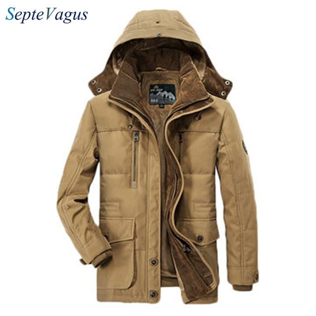 Dikke Heren Winterjas.Beroemde Merk Heren Fleece Jas Dikke Winterjas Hooded Effen Kleur