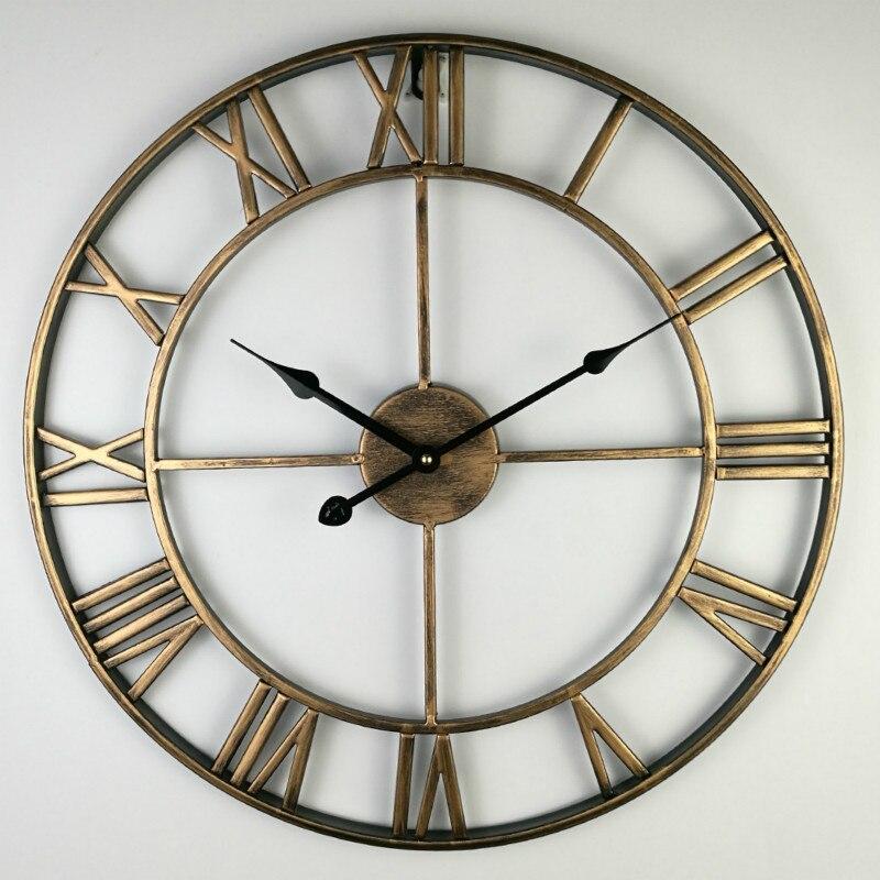 80 CM Nord Europe Bref Creative horloge Murale chiffres romains rétro Fer Montres Antique Klok De Mariage décorations horloges Murales