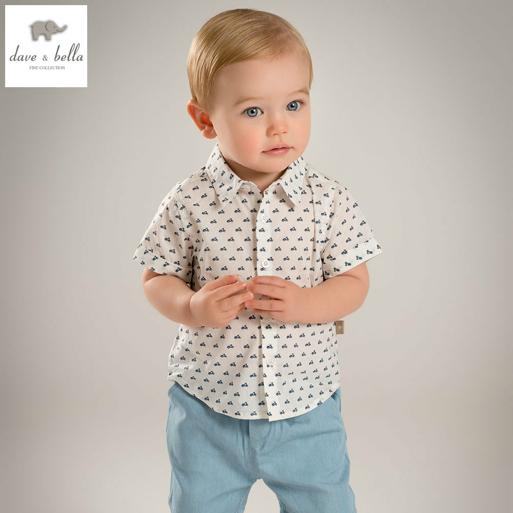 DB5069 dave bella summer baby boys clothing sets fashion sets beige printed child sets infant clothes kids sets baby costumes