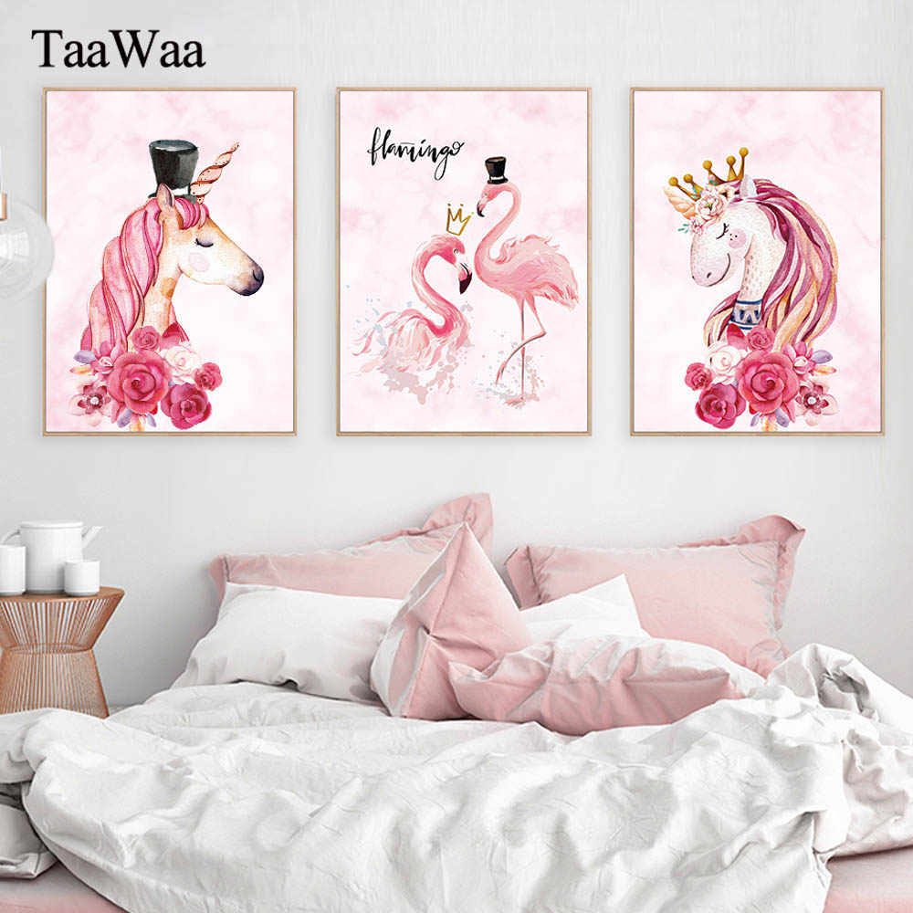TaaWaa Pink Flamingo Unicorn Canvas Posters and Prints Nordic Modern Painting Minimalist Decorative Pictures For Living Room